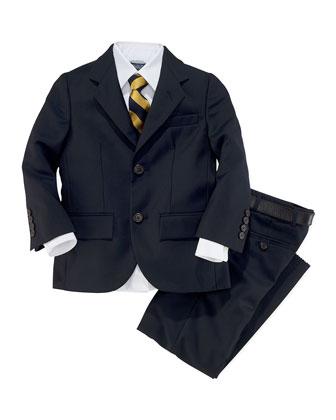 Polo I Wool-Twill Two-Piece Suit, French Navy, Size 4-7