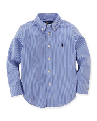 Striped Custom-Fit Sport Shirt, Size 2-7