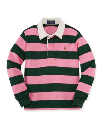 Long-Sleeve Striped Rugby Shirt, Size 2T-7