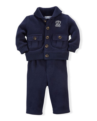 French-Ribbed Cotton Sweater & Pants, Navy, Size 9-24 Months
