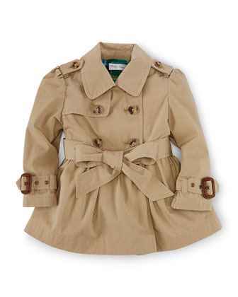 Cotton Princess Trenchcoat, Khaki, Size 9-24 Months