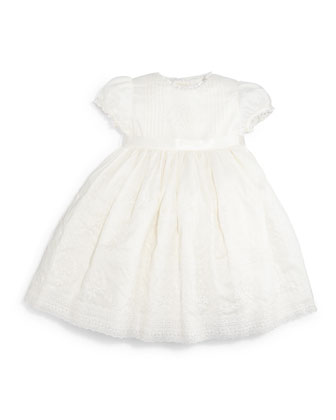 Embroidered Cotton Voile Dress, Cream, Size 9-24 Months