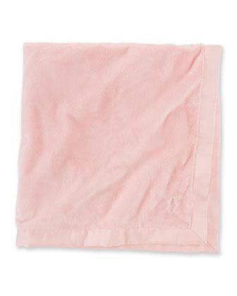 Plush Grosgrain-Edge Baby Blanket, Pink