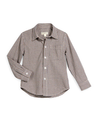 Standard Check Cotton Shirt, Blue/Brown, Size 2T-14