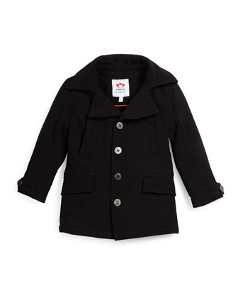 Empire Button-Front Ponte Coat, Black, Size 4T-14