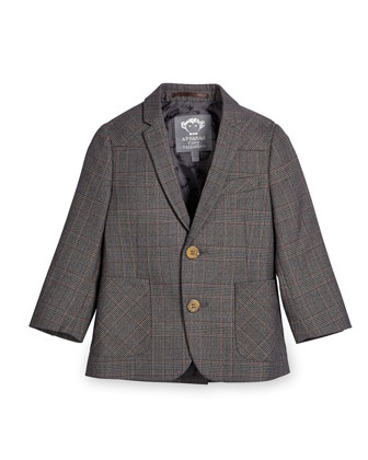 Glen Plaid Two-Button Professor Blazer, Gray, Size 4-14