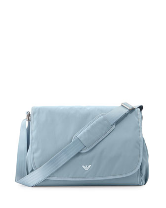 Basic Diaper Bag w/ Changing Pad & Bottle Bag, Gray/Light Blue