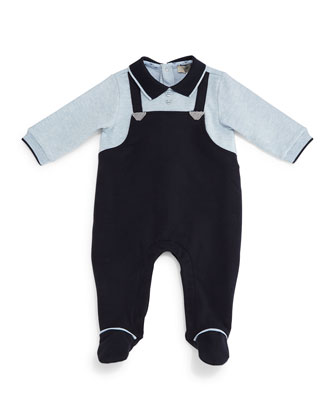 Long-Sleeve Illusion Footie Pajamas, Navy, Size 3-12 Months
