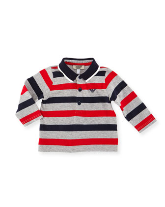 Long-Sleeve Striped Polo Shirt, Navy/Red/Gray