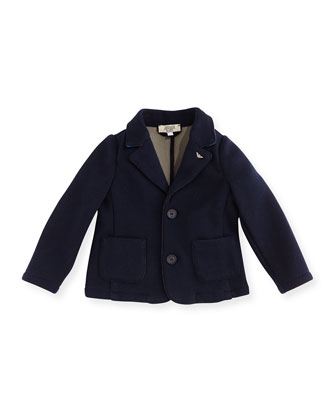 Two-Button Cotton-Blend Blazer w/ Elbow Patches, Navy, Size 12-24 Months