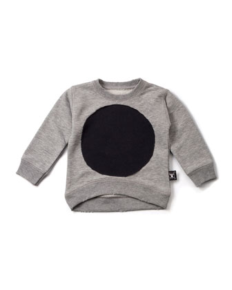 Cotton-Blend Pullover Circle Sweatshirt, Heather Gray, Size 2-5