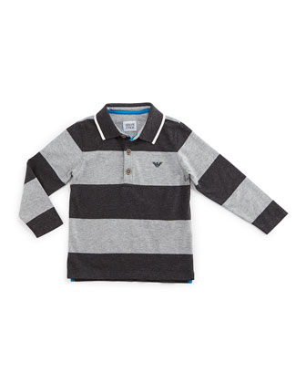 Long-Sleeve Striped Polo Shirt, Gray, Size 2-8