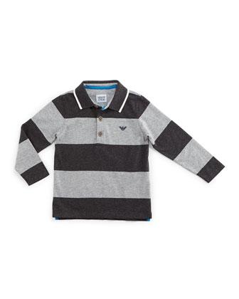 Long-Sleeve Striped Polo Shirt, Gray, Size 2-8