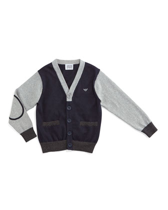 Colorblock Button-Front Cardigan, Navy/Gray, Size 2-8