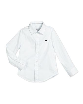 Basic Long-Sleeve Poplin Shirt, White, Size 3-8