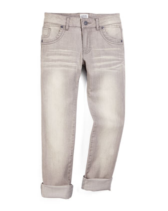 Faded Straight-Leg Stretch Jeans, Light Gray Wash, Size 4-8