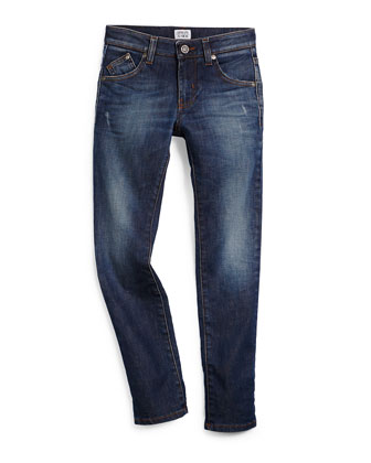 Faded Slim-Fit Denim Jeans, Medium Blue, Size 10-14