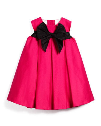 Pleated Sateen Shift Dress, Fuchsia, Size 12M-3T