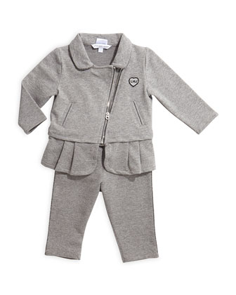 Metallic-Trim Two-Piece Track Suit, Gray, Size 12M-3