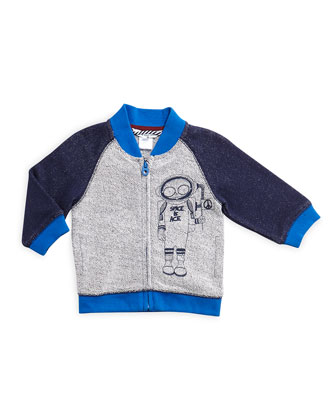 Mr. Marc Terry-Knit Raglan Zip-Front Sweater, Navy, Size 12M-3