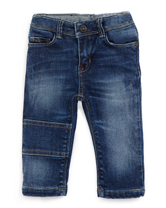 Faded Slim-Fit Denim Jeans, Blue, Size 18M-3