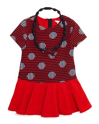 Short-Sleeve Striped Dropped-Waist Dress & Necklace, Red, Size 4-12