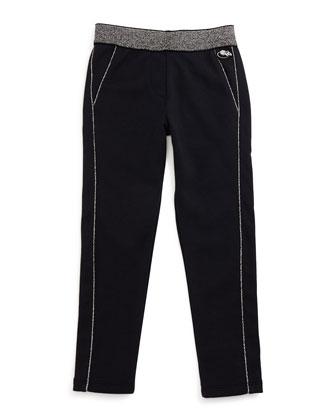 Metallic-Trim Slim-Fit Knit Pants, Navy, Size 4-12