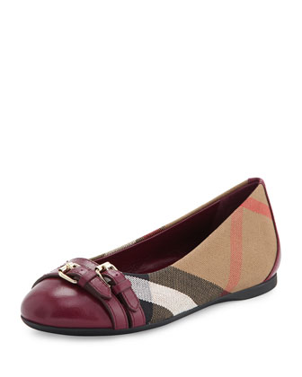 Mini Avonwick Leather-Trim Ballet Flat, Magenta, Toddler/Youth