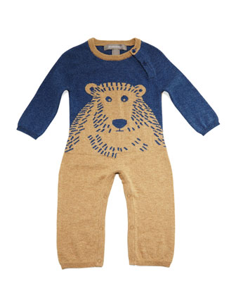 Knit Bear-Intarsia Coverall, Indigo Navy, Size Newborn-12 Months