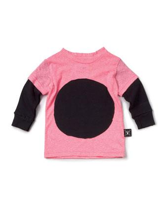 Layered-Illusion Slub-Jersey Tee, Neon Pink, Size 18M-5