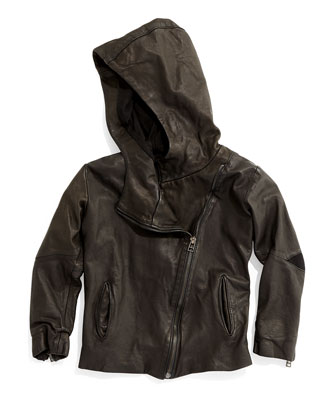 Hooded Leather Jacket, Black, Size 3-5
