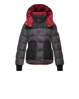 Contrast-Trim Puffer Coat, Charcoal, Size 8-14