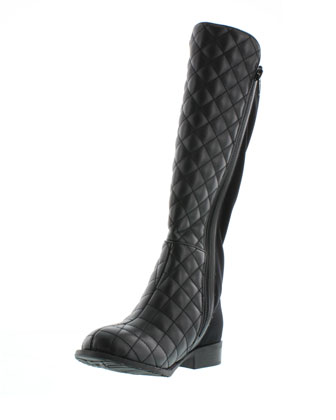 5050 Quilted Faux-Leather Riding Boot, Black, Youth