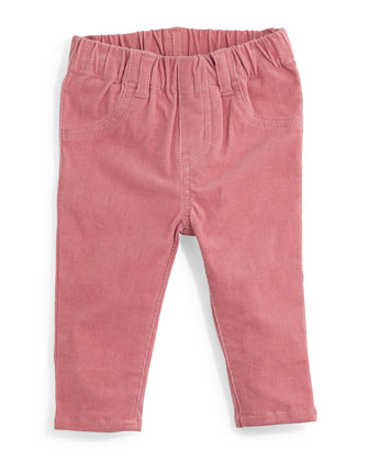 Marta Stretch-Knit Corduroy Pants, Rose, Size 12-24 Months