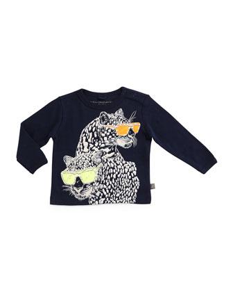 Sandy Leopard-Graphic Jersey Tee, Midnight, Size 12-24 Months