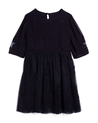 Sally Mesh-Trim Embroidered Dress, Midnight, Size 4Y-14Y