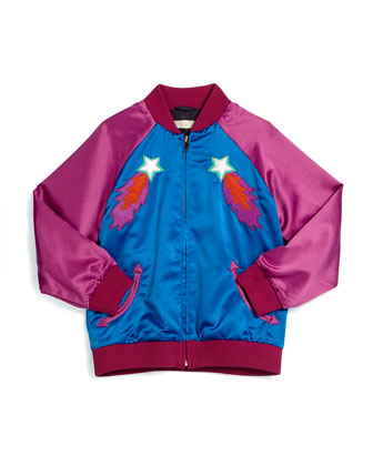 Willow Shooting Star Bomber Jacket, Electric Blue, Size 8Y-14Y