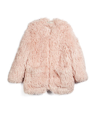 Sparkles Faux-Fur Jacket, Rose, Size 8Y-14Y