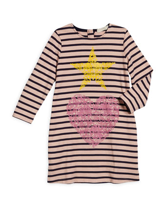 Bretta Striped Shift Dress, Pink/Navy, Size 4Y-10Y