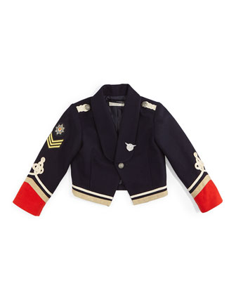 Lee Cropped Cotton Military Jacket, Navy/Red, Size 8-14