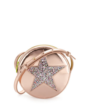 Girls' Round Metallic-Star Faux-Leather Crossbody Bag, Pink
