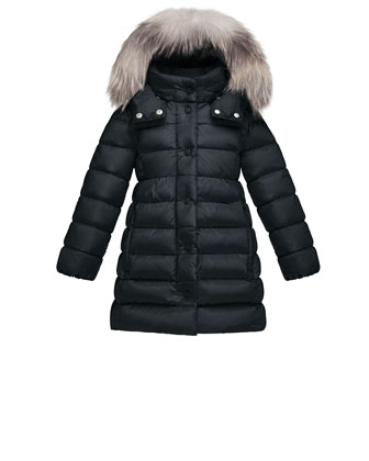 Neste Hooded Fur-Trim Puffer Coat, Navy, Size 4-6