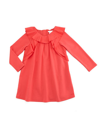 Long-Sleeve Ruffle-Trim Ponte Dress, Red, Size 4-5