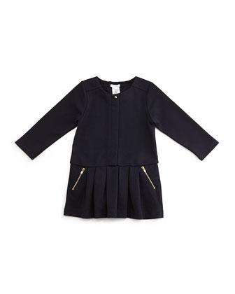 Long-Sleeve Pleated Ponte Dress, Blue Marine, Size 12M-3