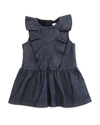 Sleeveless Ruffle-Trim Fit-and-Flare Chambray Dress, Blue, Size 12M-3