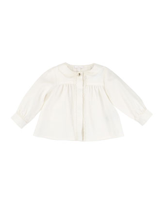 Long-Sleeve Lace-Trim Poplin Blouse, Off White, Size 12M-3