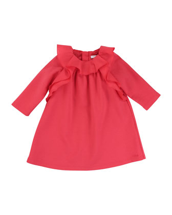 Long-Sleeve Ruffle-Trim Shift Dress, Red, Size 12M-3