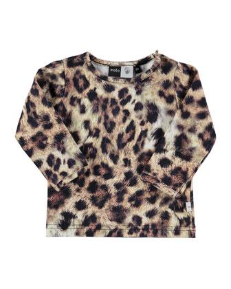 Eva Leopard-Print Jersey Tee, Brown, Size 6M-2