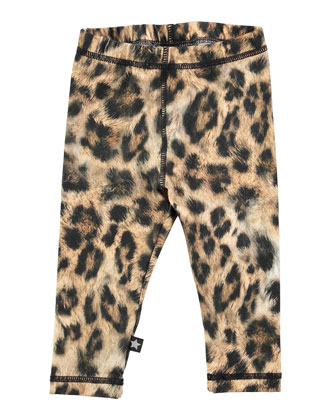 Stephanie Leopard-Print Leggings, Tan, Size 12M-2
