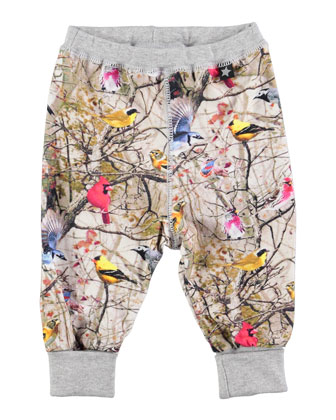 Silvia Bright Birds Pants, Gray/Multicolor, Size 12M-2